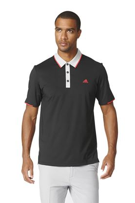 Show details for adidas Climacool Tipped Polo Shirt - Black / Stone / Red