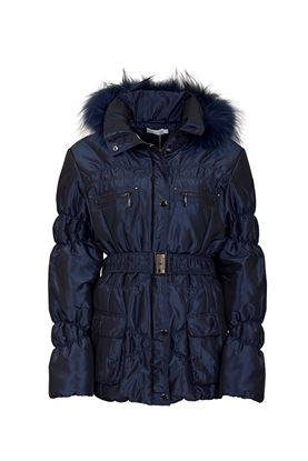 Show details for Green Lamb Janice Padded Jacket with Fur Trim - Navy
