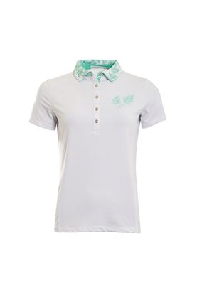 Show details for Green Lamb Peggy Palm Print Polo Shirt - White / Green
