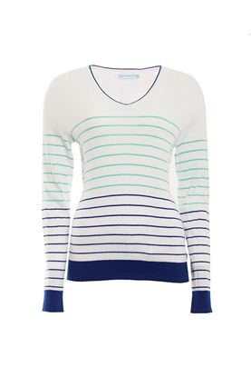 Show details for Green Lamb Blake Stripe Sweater - White / Ocean
