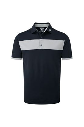 Show details for FootJoy ZNS Heather Pieced Stripe Smooth Polo - Navy / Heather Grey