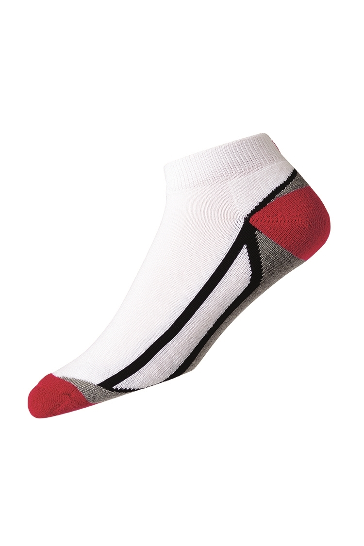 Picture of FootJoy ProDry Fashion Sport Sock - White / Black / Red / Grey