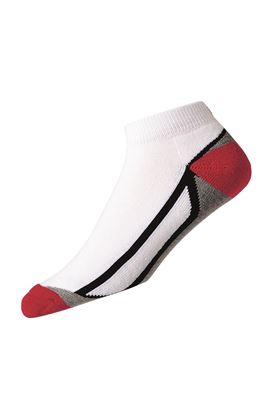 Show details for FootJoy ProDry Fashion Sport Sock - White / Black / Red / Grey