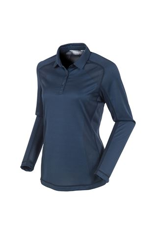 Picture of Sunice Kendra Body Mapping Long Sleeve Polo Shirt - Midnight