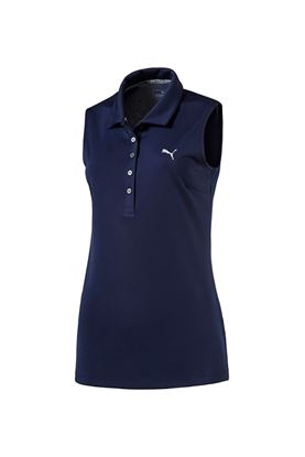 Show details for Puma Golf Women's Sleeveless Pounce Polo Shirt - Peacoat
