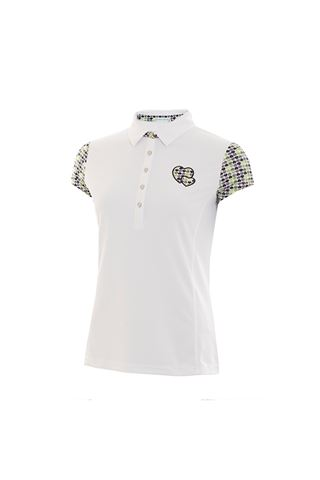 Picture of Green Lamb zns  Phoenix Cap Sleeve Polo  with Applique - White / Greenery