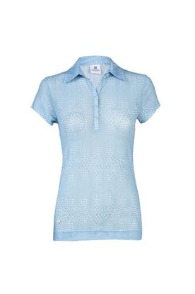 Show details for Daily Sport zns Aggie Mesh Cap Sleeve Polo Shirt - Mermaid