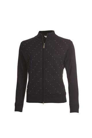 Picture of Green Lamb zns Ladies Gail Spot Wind Barrier Cardigan - Navy / Lime