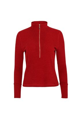 Show details for Swing out Sister Ladies Evelyn 1/4 Zip Turtle Neck Sweater - Chilli Red