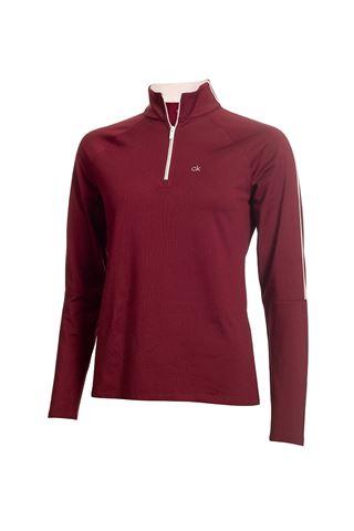 Picture of Calvin Klein zns Golf Ladies Aquila Zip Neck Top - Burgundy