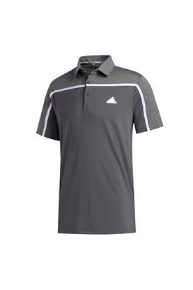 Show details for adidas Men's Ultimate 365 3 Stripe Polo Shirt - Grey Five / Black Melange