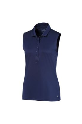 Show details for Puma Golf Ladies Rotation Sleeveless Polo Shirt - Peacoat