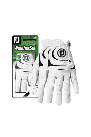 Picture of Footjoy Ladies Weather Sof Golf Glove - White / Black - TWIN PACK