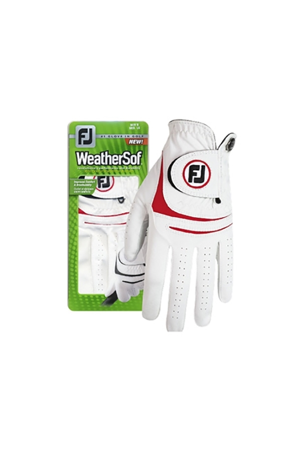 Picture of Footjoy Men's Weather Sof Golf Gloves - White / Red