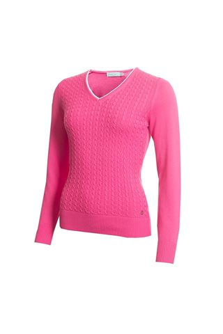 Picture of Green Lamb zns Ladies Gerda Cable V Neck Sweater - Orchid
