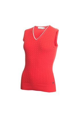 Show details for Green Lamb Ladies Georgette Cable Slipover - Red