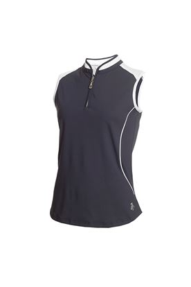Show details for Green Lamb Ladies Ellis Sleeveless Zip Neck Polo Shirt - Navy / White