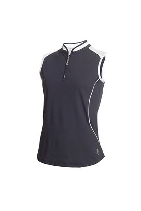 Show details for Green Lamb Ladies Ellis Sleeveless Zip Neck Polo Shirt - Navy / White