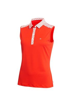Show details for Calvin Klein Catalina Sleeveless Polo Shirt - Scarlet