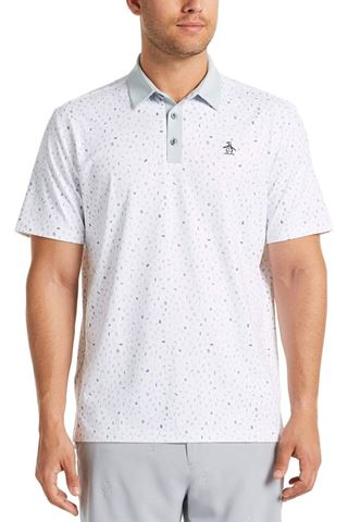 Picture of Original Penguin zns Spelling Pete Printed Polo Shirt - Bright White