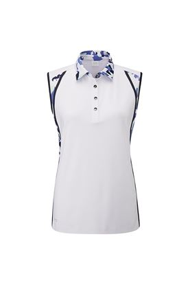 Show details for Ping Botanical Sleeveless Ladies Polo Shirt - White / Botanical