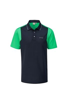 Show details for Ping Vista Men's Golf Polo Shirt - Navy / Grasshopper Green