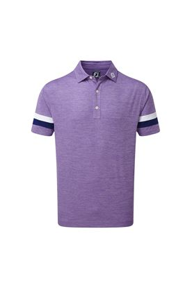 Show details for Footjoy Smooth Pique Spacedye with Sleevebands Polo Shirt - Purple / Blue / White