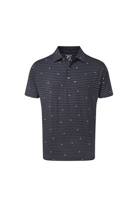 Show details for Footjoy Lisle Stripe Leaf Print Polo Shirt - Navy / White