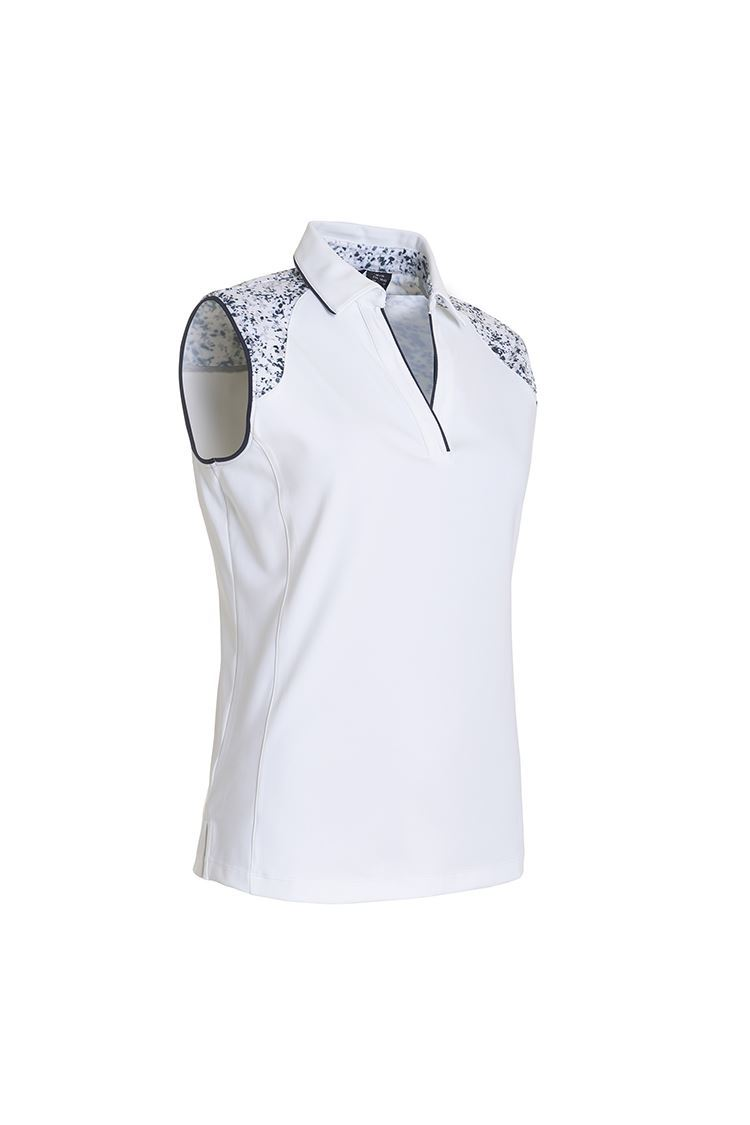 Picture of Abacus Ladies Emy Sleeveless Polo Shirt - White 100