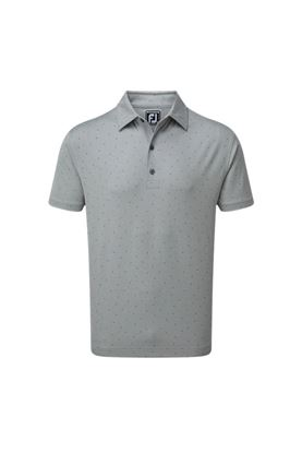 Show details for Footjoy Stretch Pique with FJ Print Polo Shirt - Heather Grey / Royal Blue