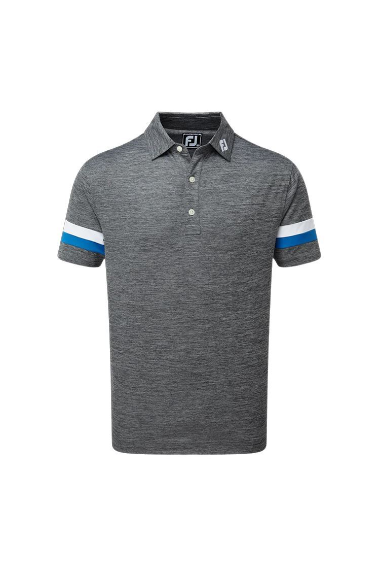 Picture of Footjoy Smooth Pique Spacedye with Sleevebands Polo Shirt - Black / White / Royal