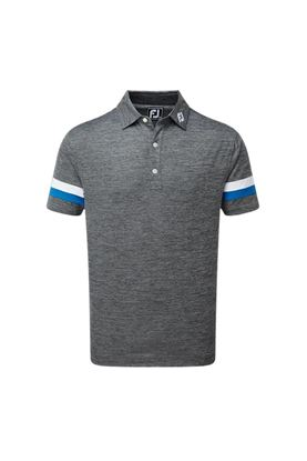 Show details for Footjoy Smooth Pique Spacedye with Sleevebands Polo Shirt - Black / White / Royal