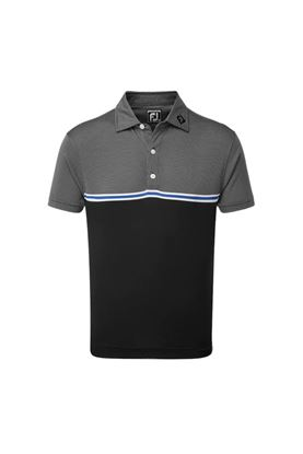 Show details for Footjoy Jacquard Top Colour Block Polo Shirt - Black