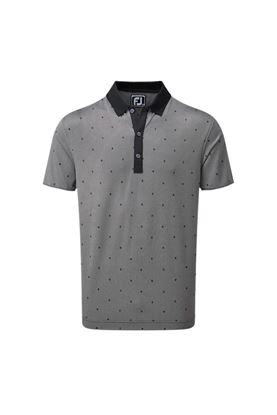 Show details for Footjoy Birdseye Argyle Print Polo Shirt - Black / White