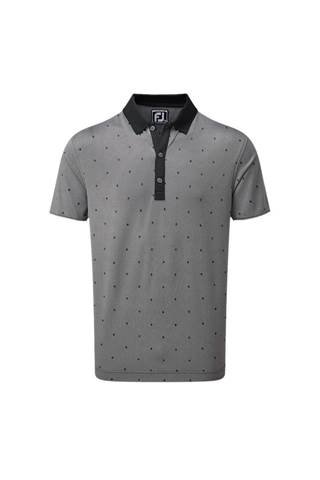 Picture of Footjoy Birdseye Argyle Print Polo Shirt - Black / White