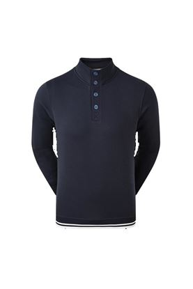 Show details for Footjoy Jersey Fleece Backed Button Collar Midlayer - Navy