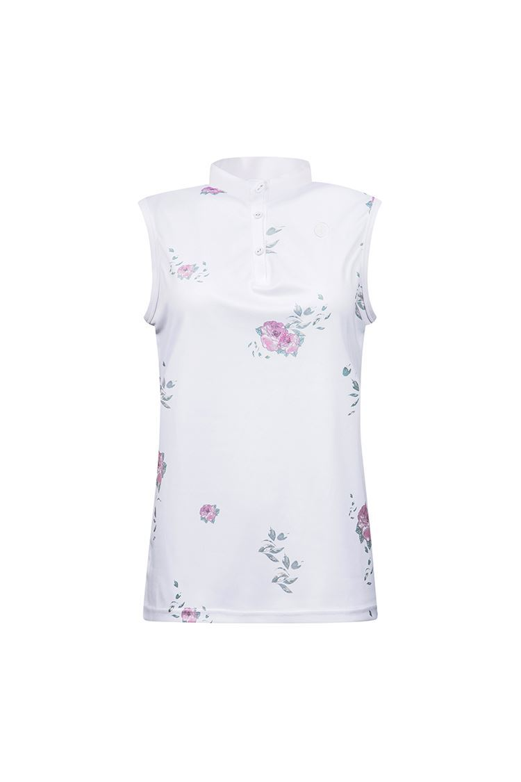 Picture of Cross Sportswear Women's Sally Sleeveless Polo Shirt - Flower White