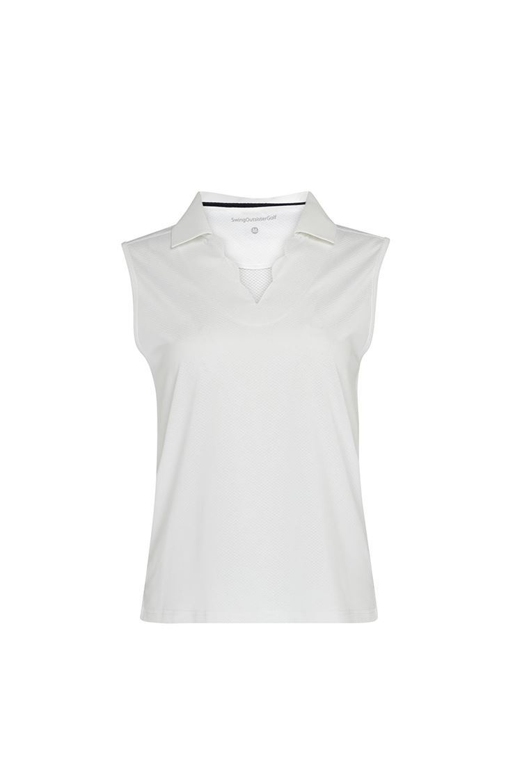 Picture of Swing out Sister Ladies Bali Sleeveless Polo Shirt - White