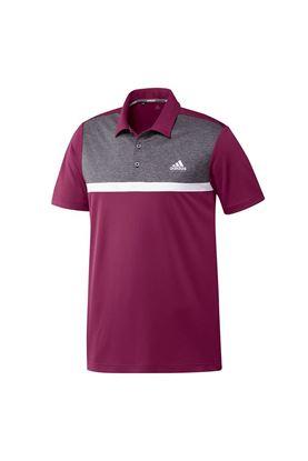 Show details for adidas Golf Men's Colourblock Novelty Polo Shirt - Power Berry / Black Melange