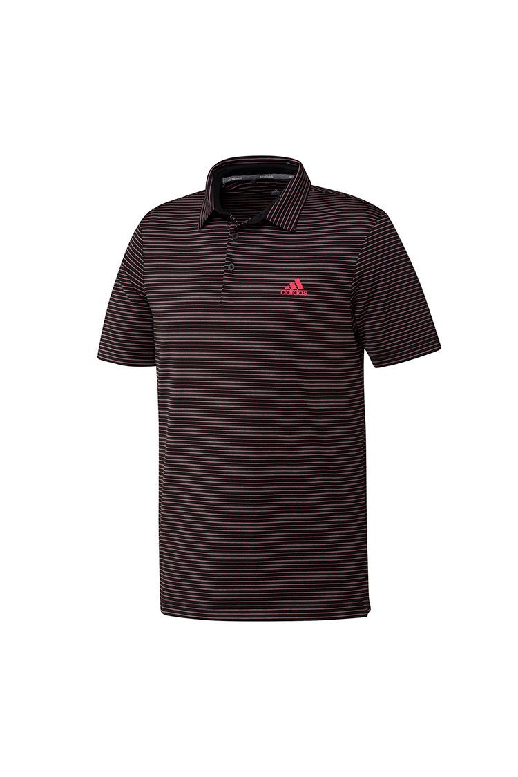 Picture of adidas Golf Men's Ultimate 365 Space Dye Stripe Polo Shirt - Black / Power Pink / Tech Emerald