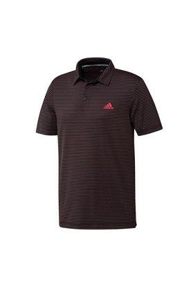 Show details for adidas Golf Men's Ultimate 365 Space Dye Stripe Polo Shirt - Black / Power Pink / Tech Emerald