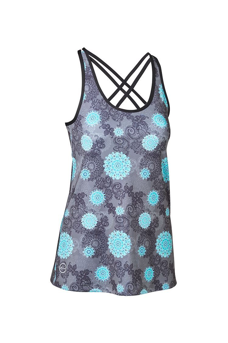 Picture of Daily Sports Ladies Mantra Tank/Singlet - Charcoal/Pool