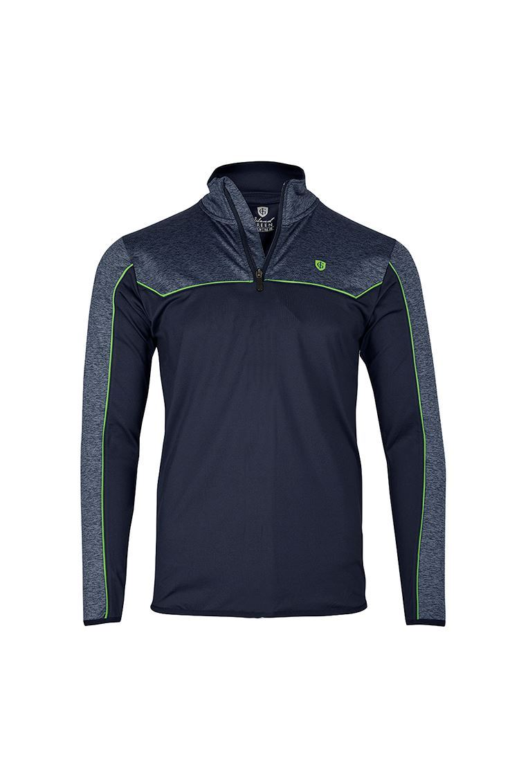 Picture of Island Green Mens Contrast Yoke Zip Neck Top Layer - Navy Blue Marl / Lime Green
