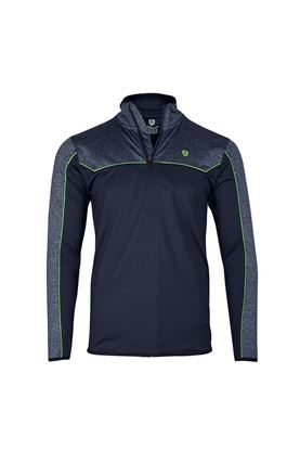 Show details for Island Green Mens Contrast Yoke Zip Neck Top Layer - Navy Blue Marl / Lime Green