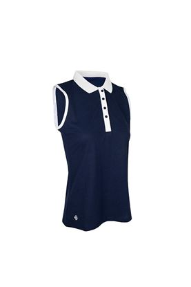 Show details for Island Green Sleeveless Polo Honeycomb - Navy white
