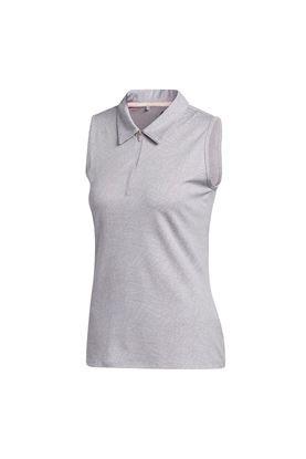 Show details for adidas Golf Women's Jacquard Sleeveless Polo Shirt - Glory Grey