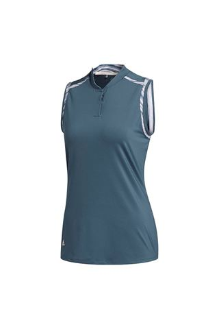 Picture of adidas Golf Women's Ultimate Print Sleeveless Polo Shirt - Legend Blue
