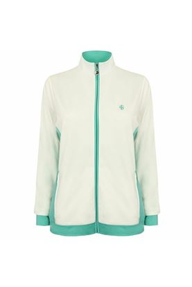 Show details for Island Green Ladies Jersey Contrast Panel Jacket - Turquoise/White
