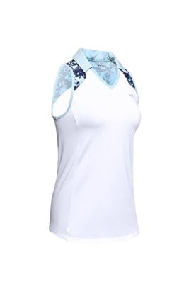 Show details for Under Armour UA Zinger Sleeveless Blocked Polo - White/Blue 101
