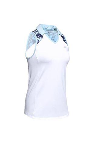 Picture of Under Armour UA Zinger Sleeveless Blocked Polo - White/Blue 101